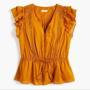 J. Crew Point Sur Flutter Sleeve Pom Pom Top